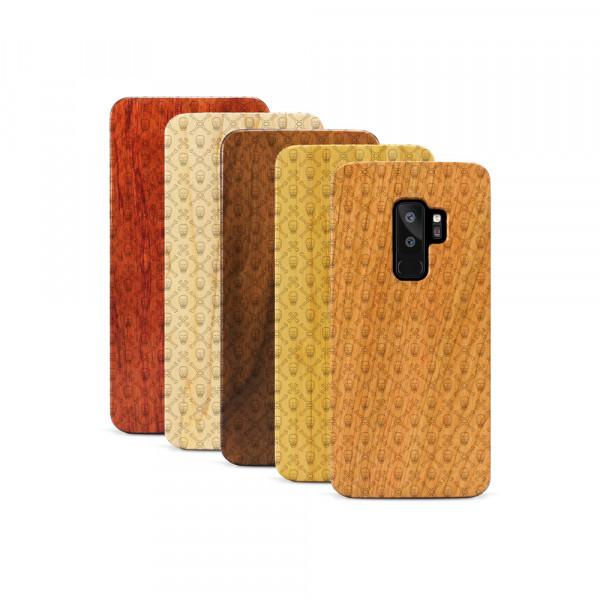 Galaxy S9+ Hülle Totenkopf PAttern aus Holz