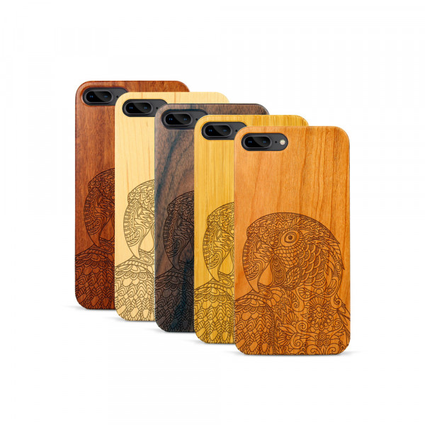iPhone 7 & 8 Plus Hülle Papagei aus Holz