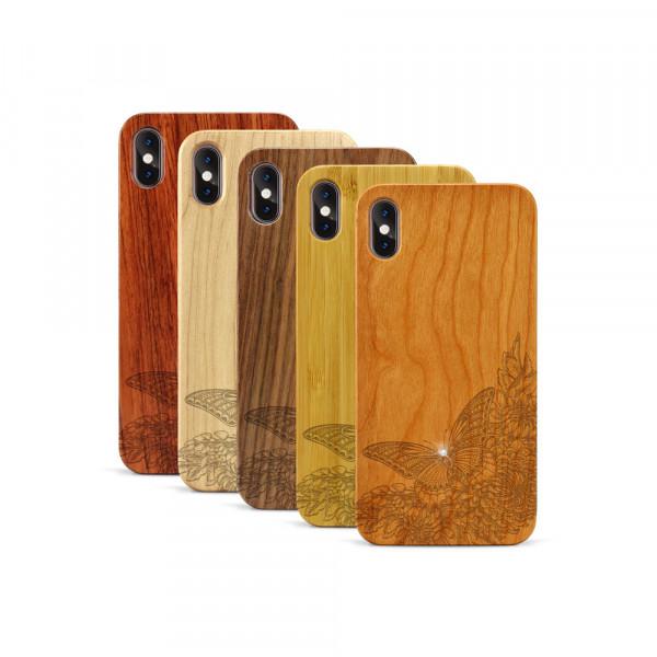 iPhone XS Max Hülle Schmetterling Swarovski® Kristalle aus Holz