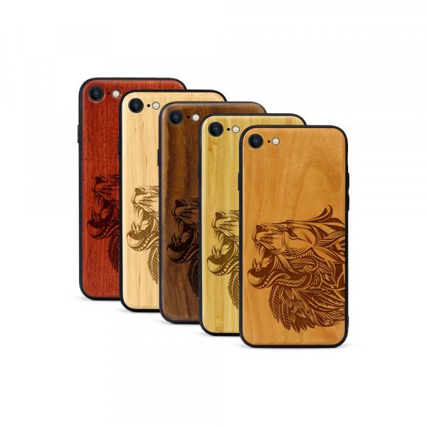 iPhone 8 & SE Hülle Löwenkopf aus Holz