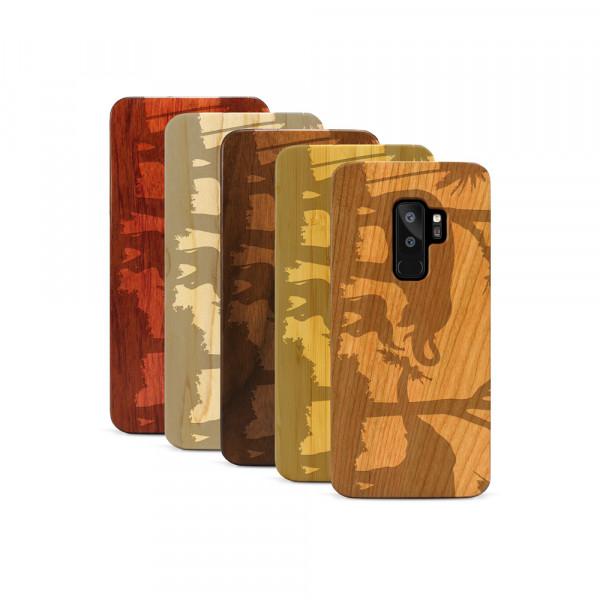 Galaxy S9+ Hülle Wildlife Elefantenfamilie aus Holz