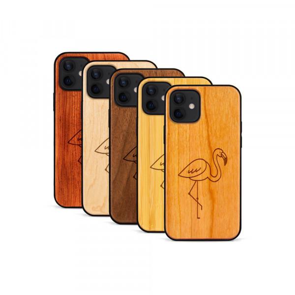 iPhone 12 & 12 Pro Hülle Flamingo aus Holz
