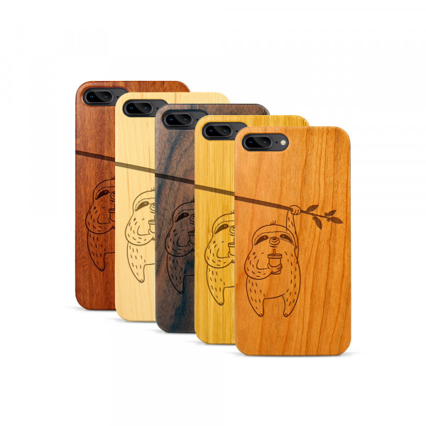 iPhone 7 & 8 Plus Hülle Faultier aus Holz