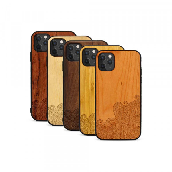 iPhone 11 Pro Max Hülle Abstract Waves aus Holz
