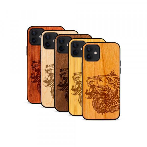iPhone 12 Mini Hülle Löwenkopf aus Holz