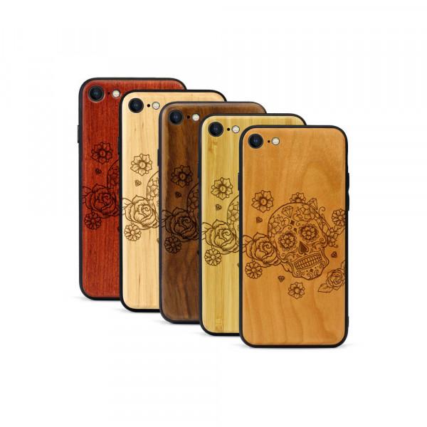 iPhone 8 & SE Hülle Flower Totem aus Holz