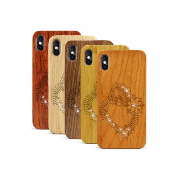 iPhone XS Max Hülle Herzblume Swarovski® Kristalle aus Holz