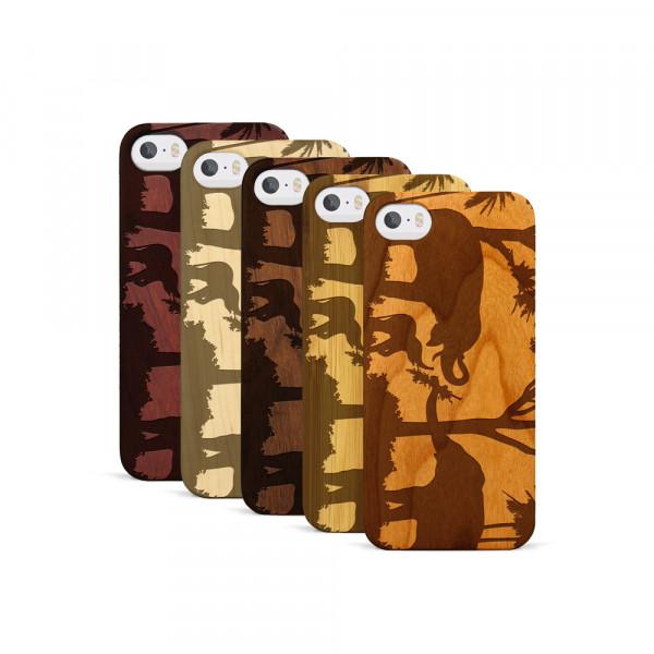 iPhone 5, 5S & SE Hülle Wildlife Elefantenfamilie aus Holz