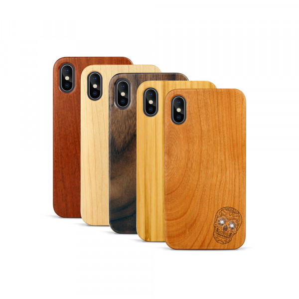 iPhone X & Xs Hülle Totenkopf Swarovski® Kristalle aus Holz