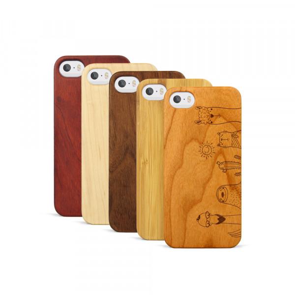 iPhone 5, 5S & SE Hülle Animal Friends aus Holz