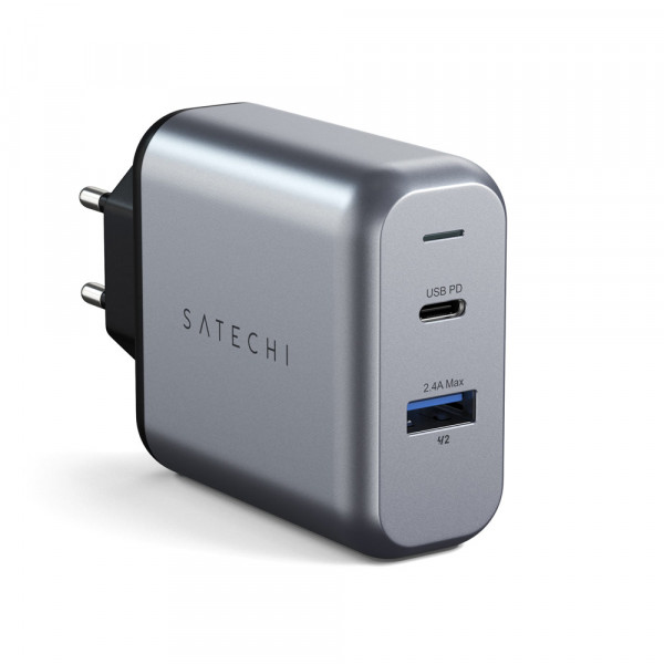 Satechi 30W Dual-Port USB Wall Charger Ladegerät Netzteil Space Grau