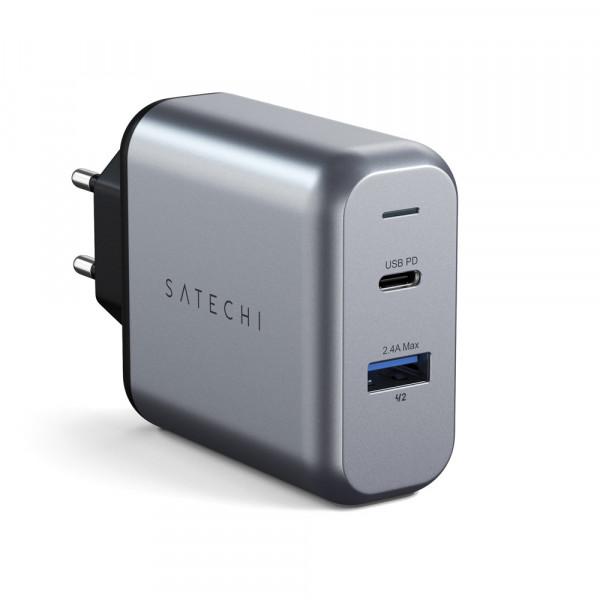 Satechi 30W Dual-Port USB Wall Charger Ladegerät Space Grau