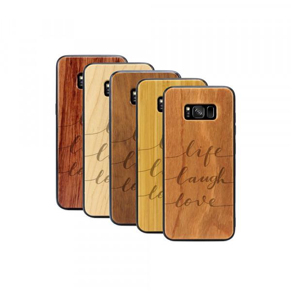 Galaxy S8+ Hülle Life Laugh Love aus Holz