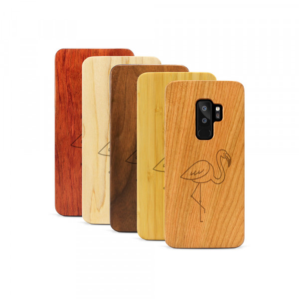 Galaxy S9+ Hülle Flamingo aus Holz