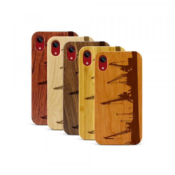 iPhone XR Hülle Industriedesign Kran aus Holz
