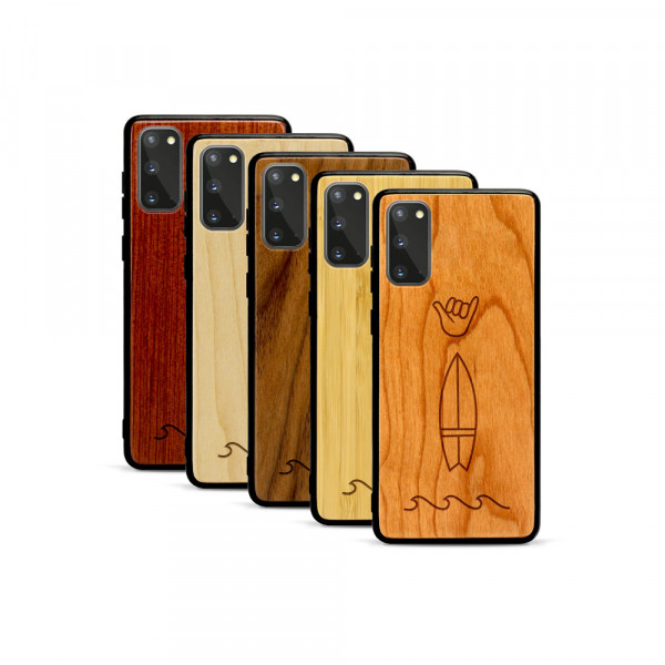 Galaxy S20 Hülle Surf Icons aus Holz
