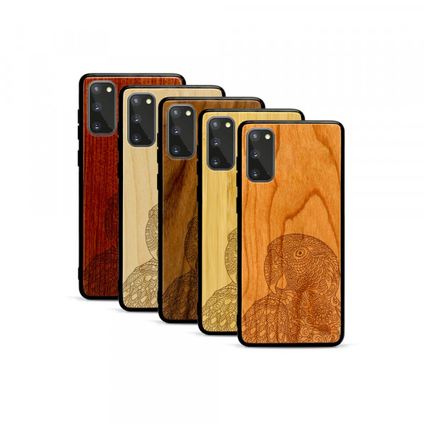Galaxy S20 Hülle Papagei aus Holz