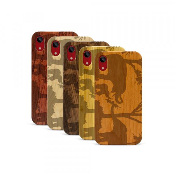 iPhone XR Hülle Wildlife Elefantenfamilie aus Holz