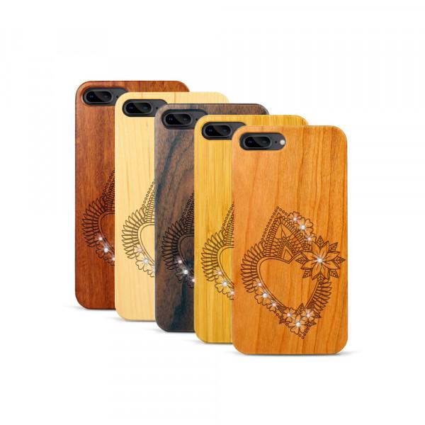 iPhone 7 & 8 Plus Hülle Herzblume Swarovski® Kristalle aus Holz