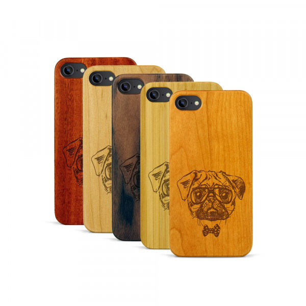 iPhone 7 Hülle Fashion Mops aus Holz