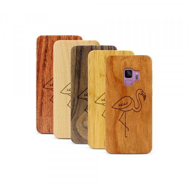 Galaxy S9 Hülle Flamingo aus Holz