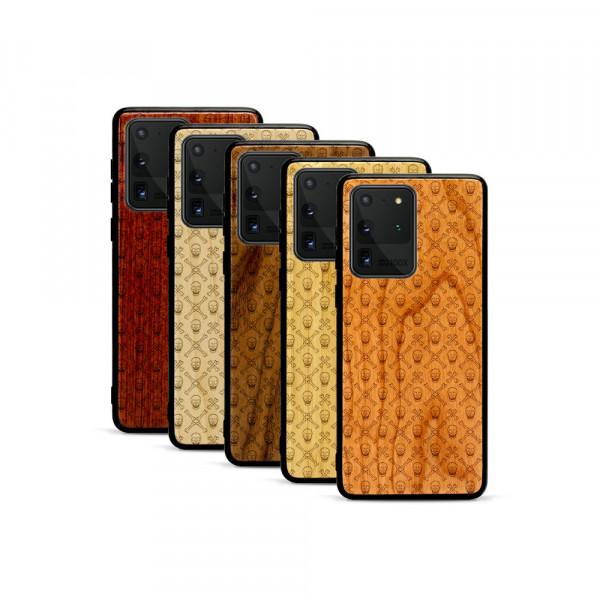 Galaxy S20 Ultra Hülle Totenkopf Pattern aus Holz