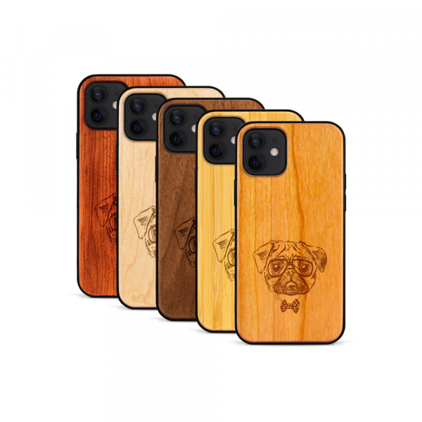 iPhone 12 & 12 Pro Hülle Fashion Mops aus Holz