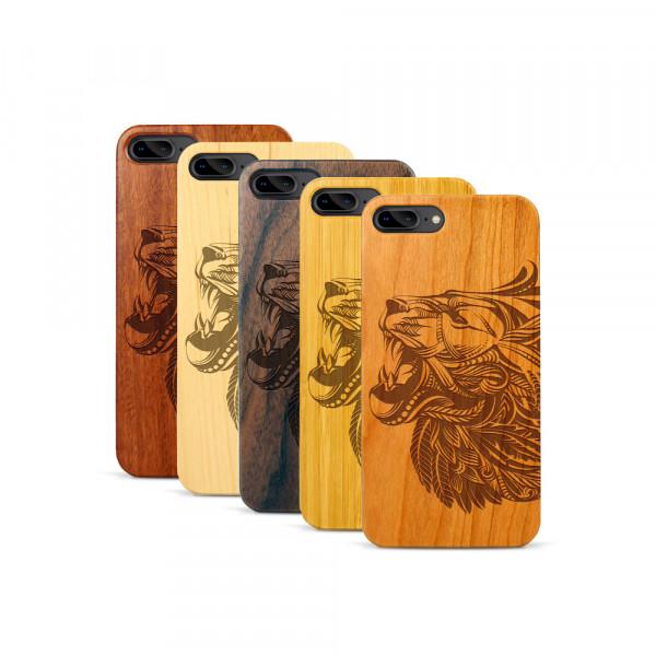 iPhone 7 & 8 Plus Hülle Löwenkopf aus Holz