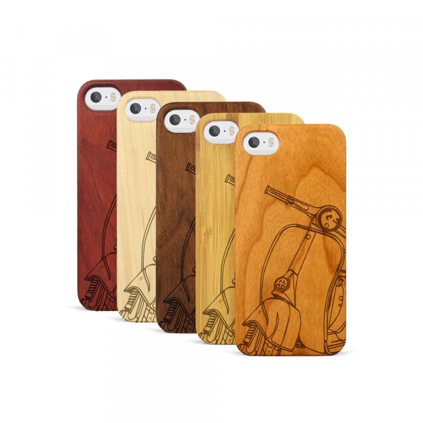 iPhone 5, 5S & SE Hülle Moped Silhouette aus Holz