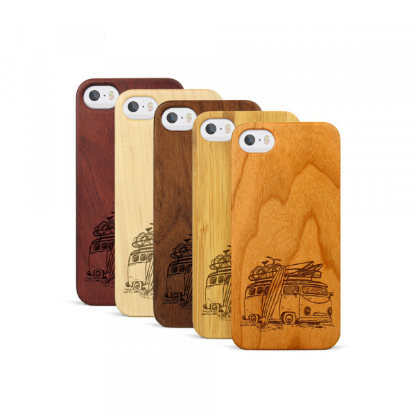 iPhone 5, 5S & SE Hülle Camper Van aus Holz