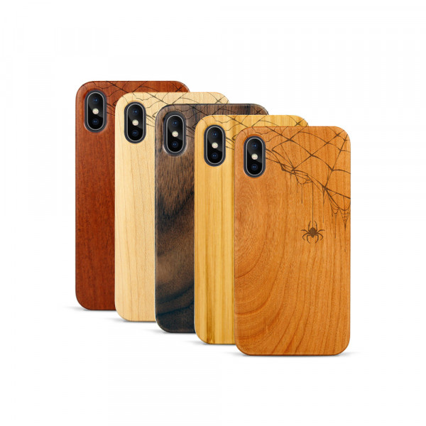 iPhone X & Xs Hülle Spinnennetz aus Holz