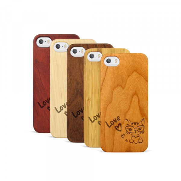 iPhone 5, 5S & SE Hülle Cat Love aus Holz