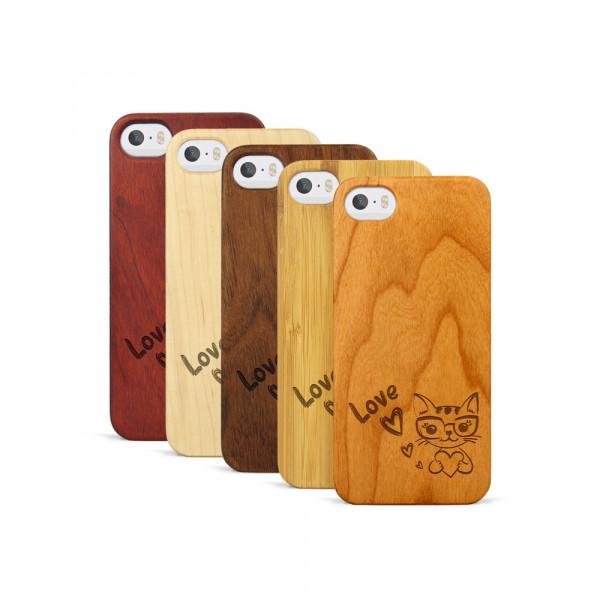 iPhone 5, 5S & SE Hülle Cat Love aus Holz