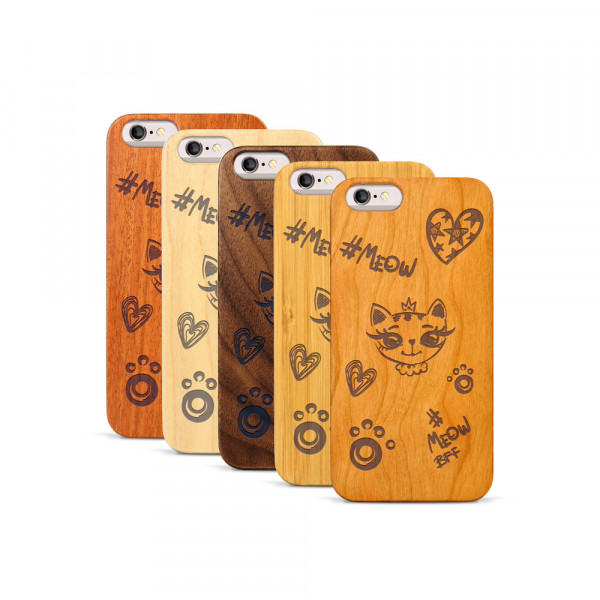 iPhone 6 & 6S Hülle Cat Meow aus Holz