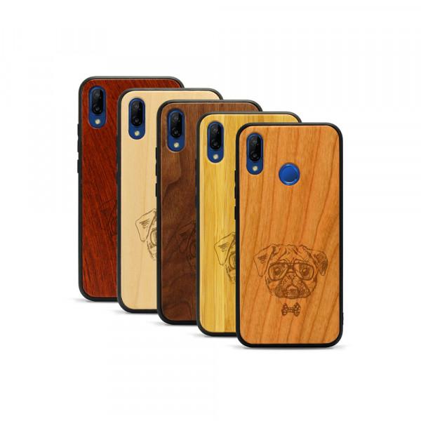 P20 lite Hülle Fashion Mops aus Holz