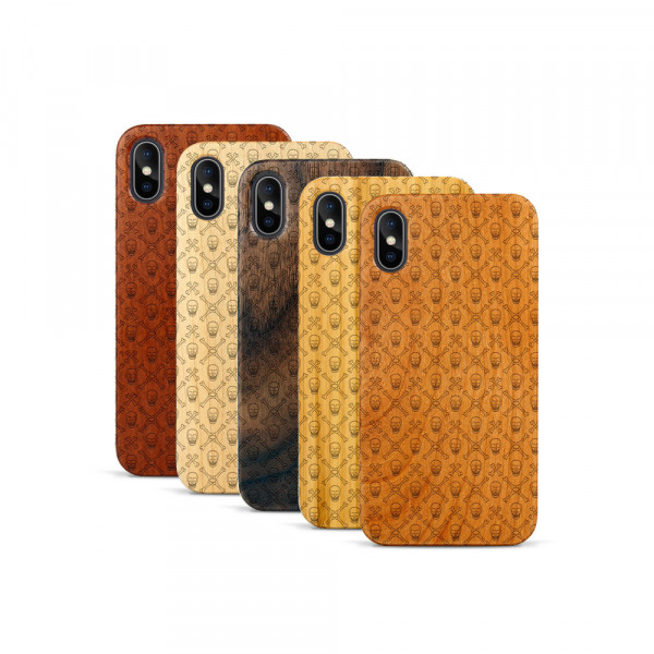 iPhone X & Xs Hülle Totenkopf PAttern aus Holz