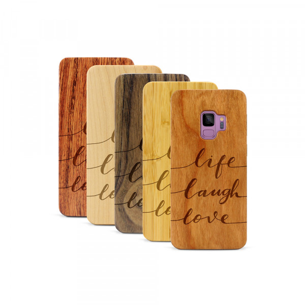 Galaxy S9 Hülle Life Laugh Love aus Holz