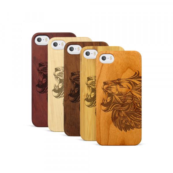 iPhone 5, 5S & SE Hülle Löwenkopf aus Holz