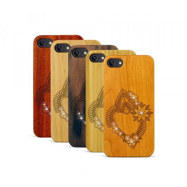 iPhone 7 Hülle Herzblume Swarovski® Kristalle aus Holz