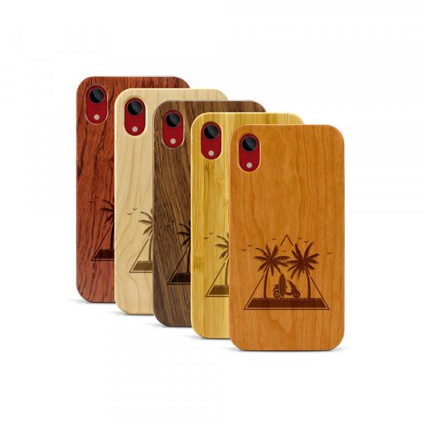 iPhone XR Hülle Palmen und Meer aus Holz