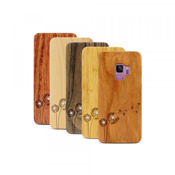 Galaxy S9 Hülle Pusteblume Swarovski® Kristalle aus Holz