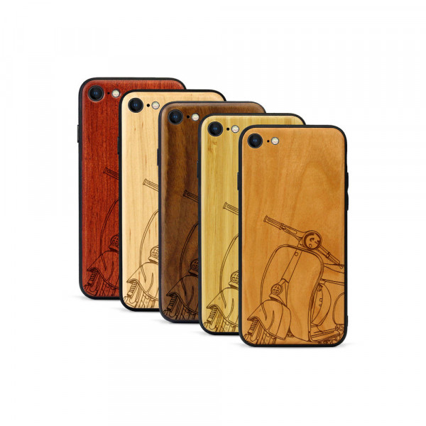 iPhone 8 & SE Hülle Moped Silhoutte aus Holz
