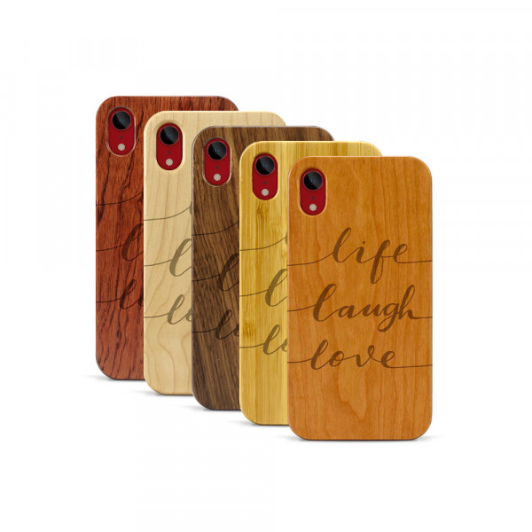 iPhone XR Hülle Life Laugh Love aus Holz