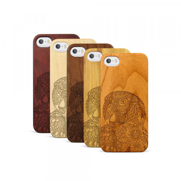iPhone 5, 5S & SE Hülle Papagei aus Holz