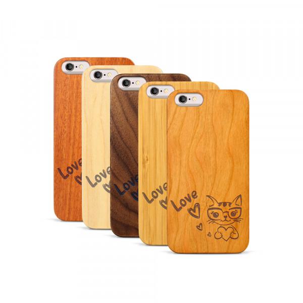 iPhone 6 & 6S Hülle Cat Love aus Holz