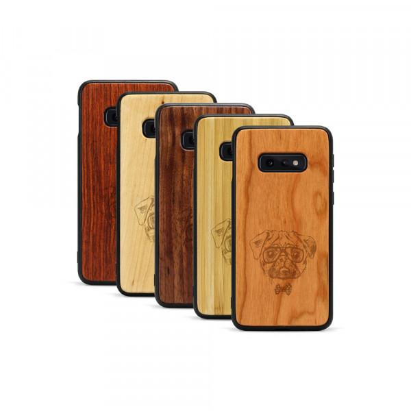 Galaxy S10e Hülle Fashion Mops aus Holz