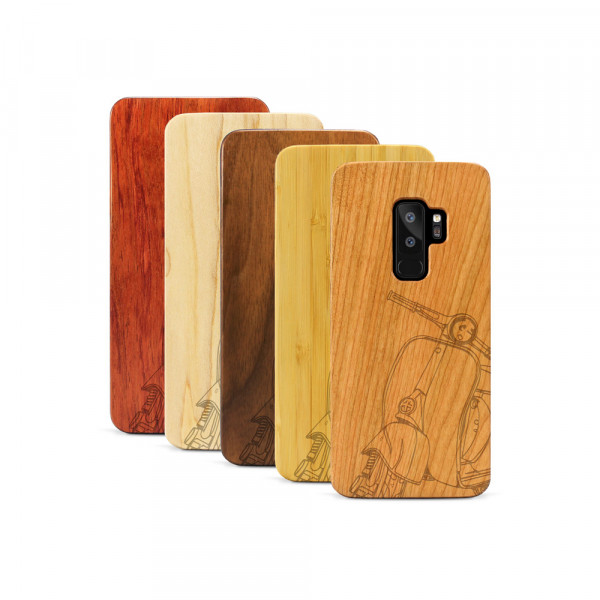 Galaxy S9+ Hülle Moped Silhoutte aus Holz