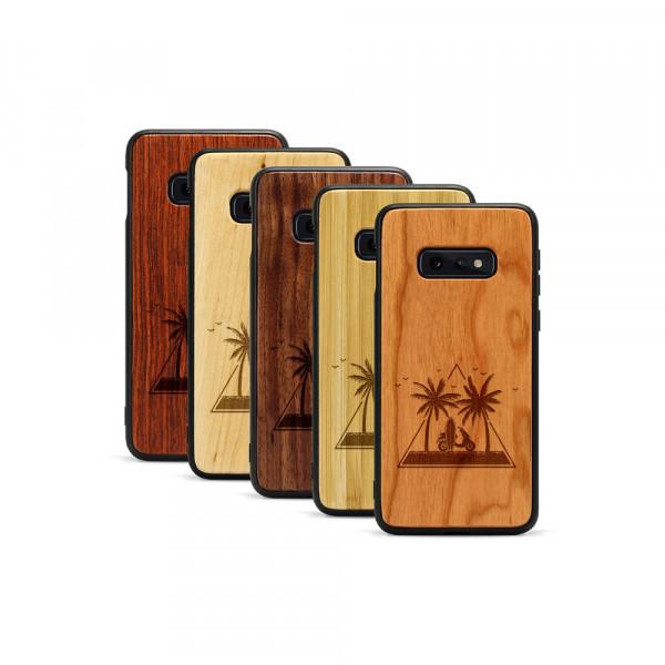 Galaxy S10e Hülle Palmen und Meer aus Holz
