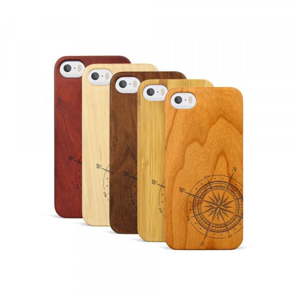 iPhone 5, 5S & SE Hülle Kompass aus Holz
