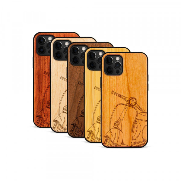 iPhone 12 Pro Max Hülle Moped Silhoutte aus Holz